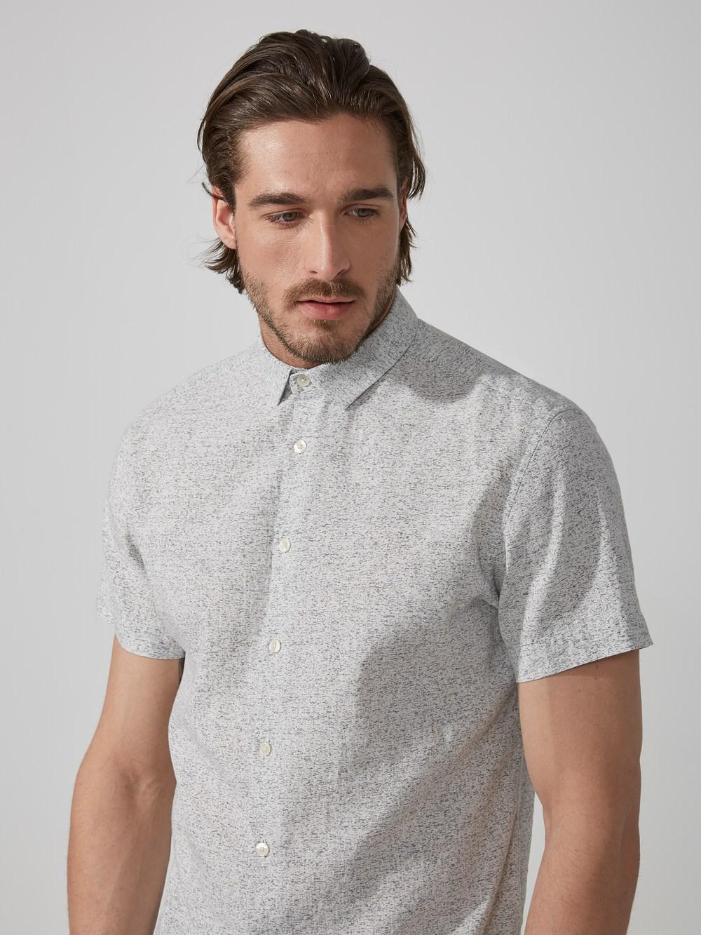 Frank + Oak Dot-dye Cotton-linen In Grey