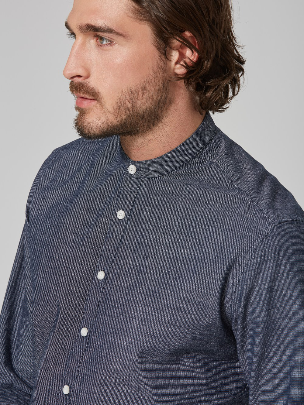 Frank + Oak Slub-cotton Band Collar Shirt In Navy