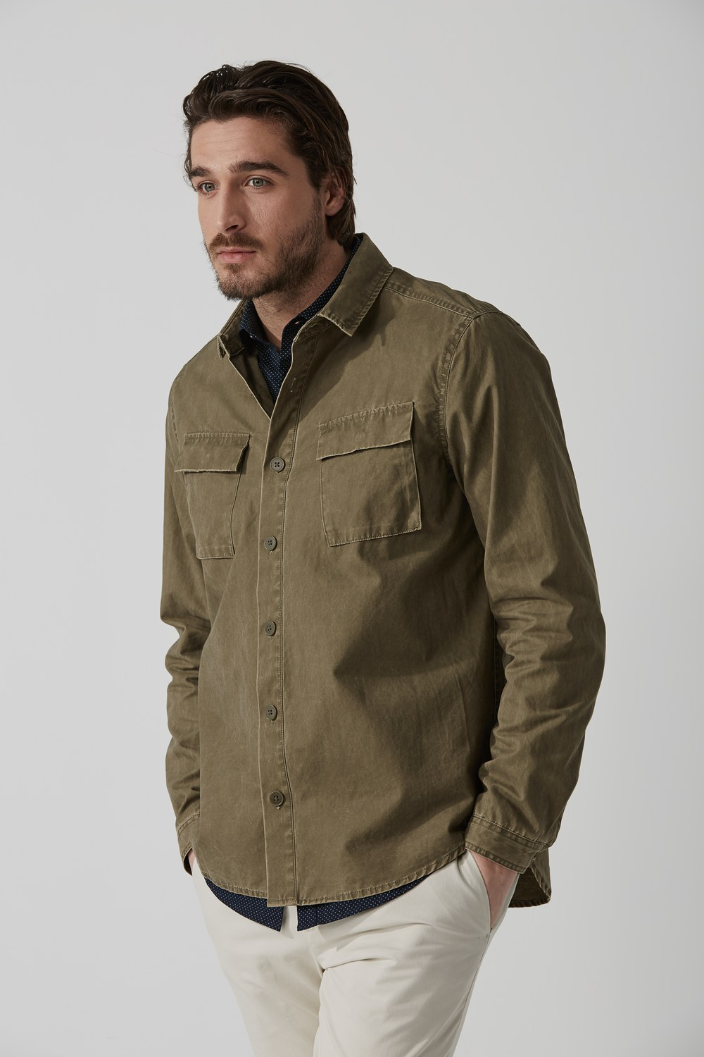 Frank + Oak Washed Military Overshirt In Silver Sage