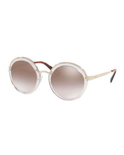 5e869af3bd Prada 54Mm Round Metal-Trim Mirrored Sunglasses In Brown