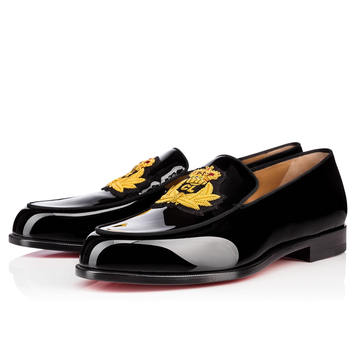 Christian Louboutin Laperouse  Patent/gros Grain In Black/gold