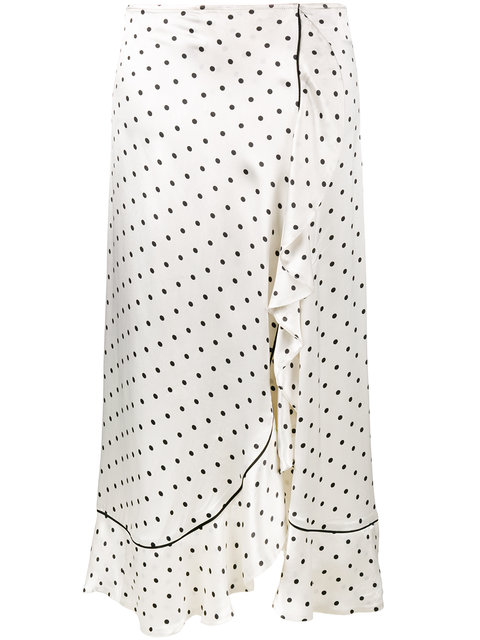 3e2709b3e7 Ganni Leclair Ruffled Polka-Dot Satin Midi Skirt In Vanilla Ice ...