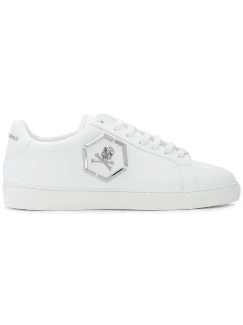 Philipp Plein Hexagonal Skull Logo Sneakers In White