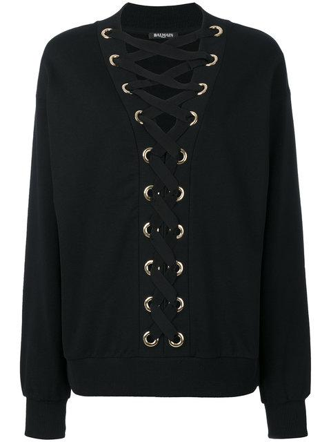 Balmain Cotton Sweatshirt With Lace-up Front In Black
