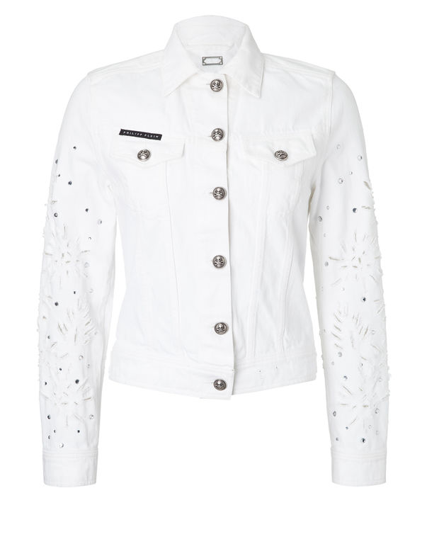"Philipp Plein Denim Jacket ""disclosur"" In Cherry Blossom"