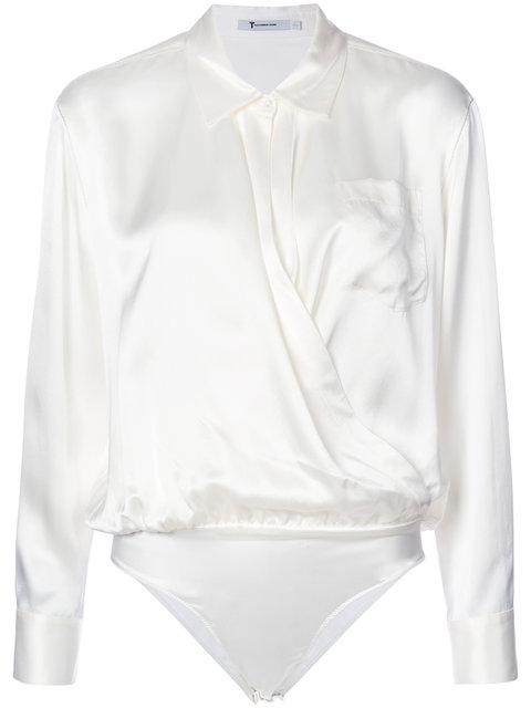 Alexander Wang T By  Collared Silk Blouse - White