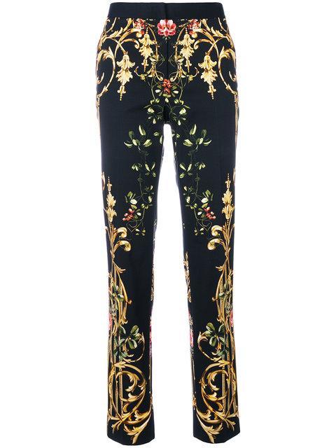 Alberta Ferretti Stampa Faille Printed Skinny Trousers In Black