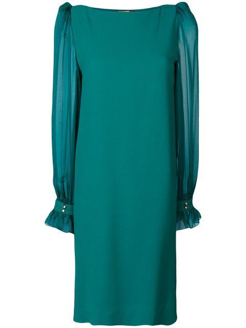 Roberto Cavalli Sheer Sleeve Dress - Green