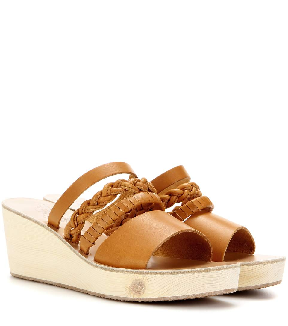 Ancient Greek Sandals Helene Leather Wedge Sandals In Brown