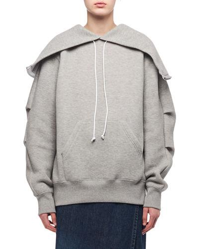 Sacai Oversized Zip-back Sweatshirt In Light Gray