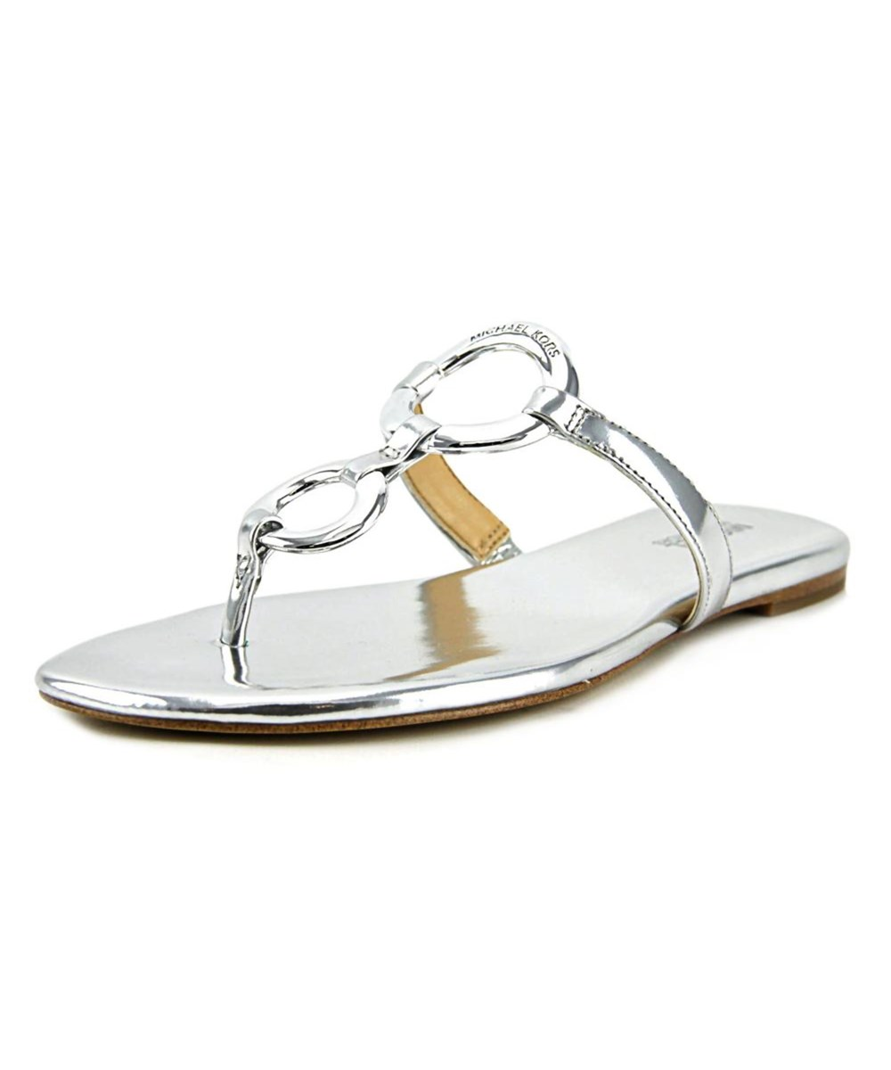 Michael Michael Kors Claudia Flat Sandal Open Toe Patent Leather Thong Sandal In Silver