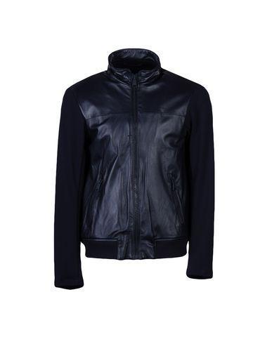 Emporio Armani Biker Jacket In Dark Blue