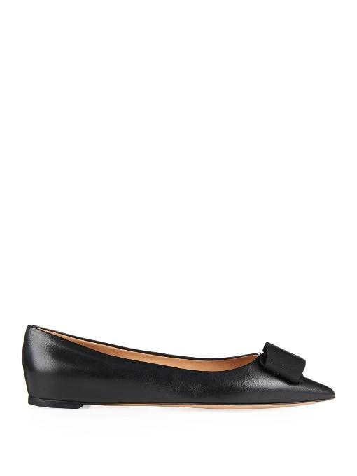 Salvatore Ferragamo Mimi Bow Point-Toe Leather Flats In Black