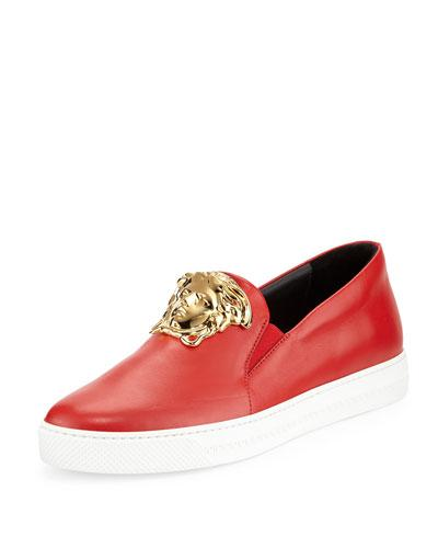 Versace Leather Slip-on Sneaker With Gold Medusa Head, Red