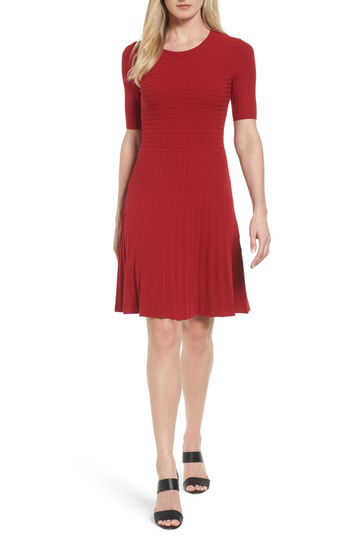 Hugo Boss Frida Short Sleeves A-line Dress In Pomegranate