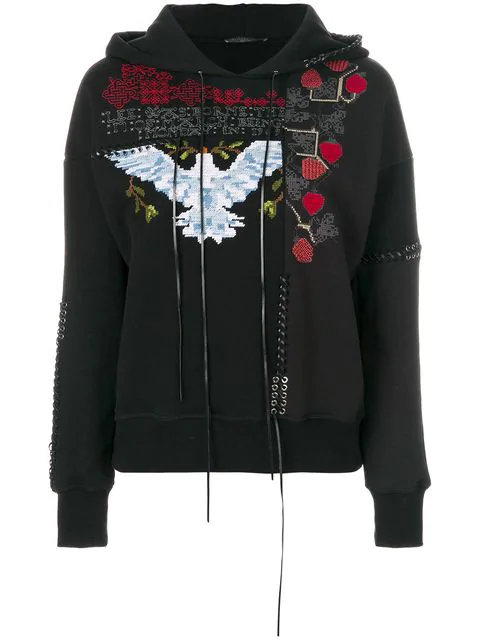 Alexander Mcqueen Embroidered Cotton Sweatshirt With Lace-up Detail In Black