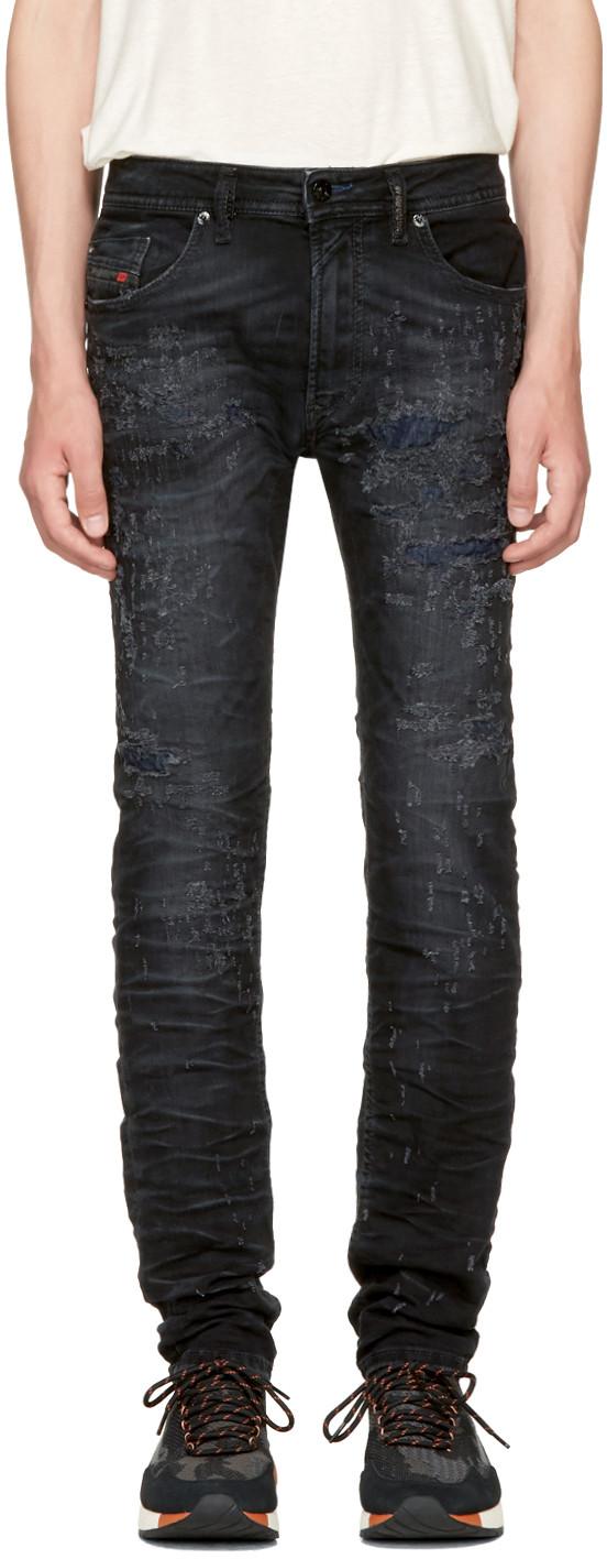 Diesel Black Thommer Scratch Jeans