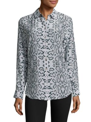 Equipment Essential Snake-print Button-front Blouse In Mineral Grey Multi