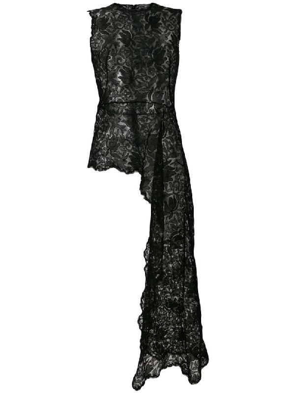 Alexander Mcqueen Swallow Guipure Lace Asymmetric Top In Black