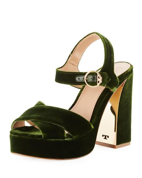 d8105618b3e Tory Burch Loretta 115 Velvet Plateau Sandals In Green