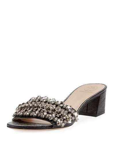 Tory Burch Beverly Embellished Crinkle-leather Slide Sandals In Black