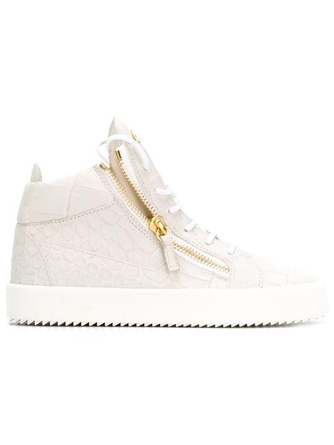 Giuseppe Zanotti - Crocodile-embossed Mid-top Sneaker Kriss In White