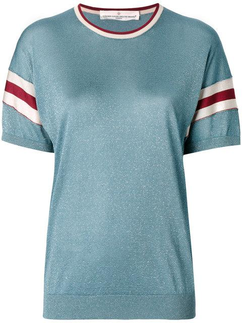 Golden Goose Claudine Striped Metallic Knitted Top In Teal