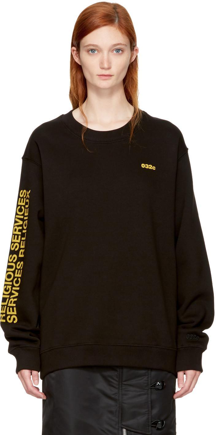 032c Ssense Exclusive Black Religious Services Sweatshirt In Black/yellow