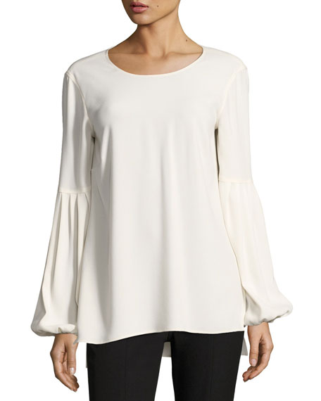 Elizabeth And James Harriet Blouson-sleeve Round-neck Crepe Top In White