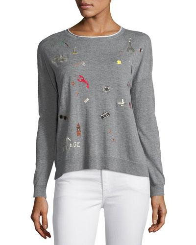 Joie Eloisa B Crewneck Long-sleeve Sweater W/ Embroidery In Gray