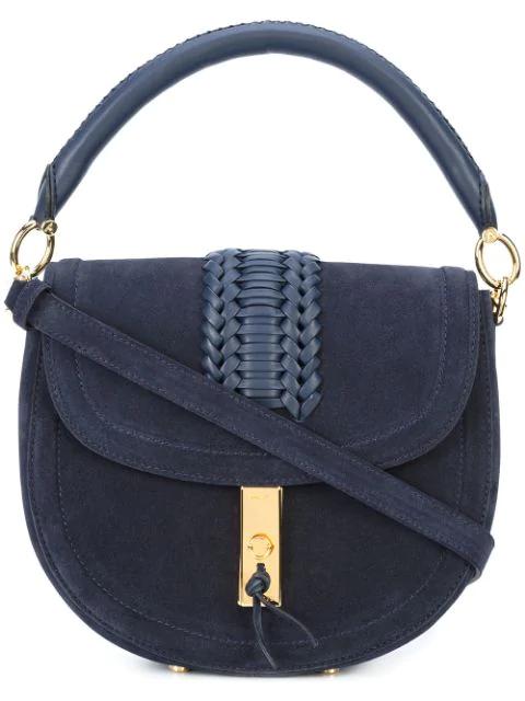 Altuzarra Navy Ghianda Top Handle Saddle Bag In Blue