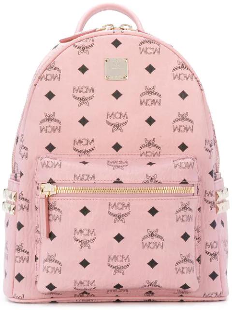 Mcm Medium Stark Side Stud Coated Canvas Backpack - Pink In Pz001
