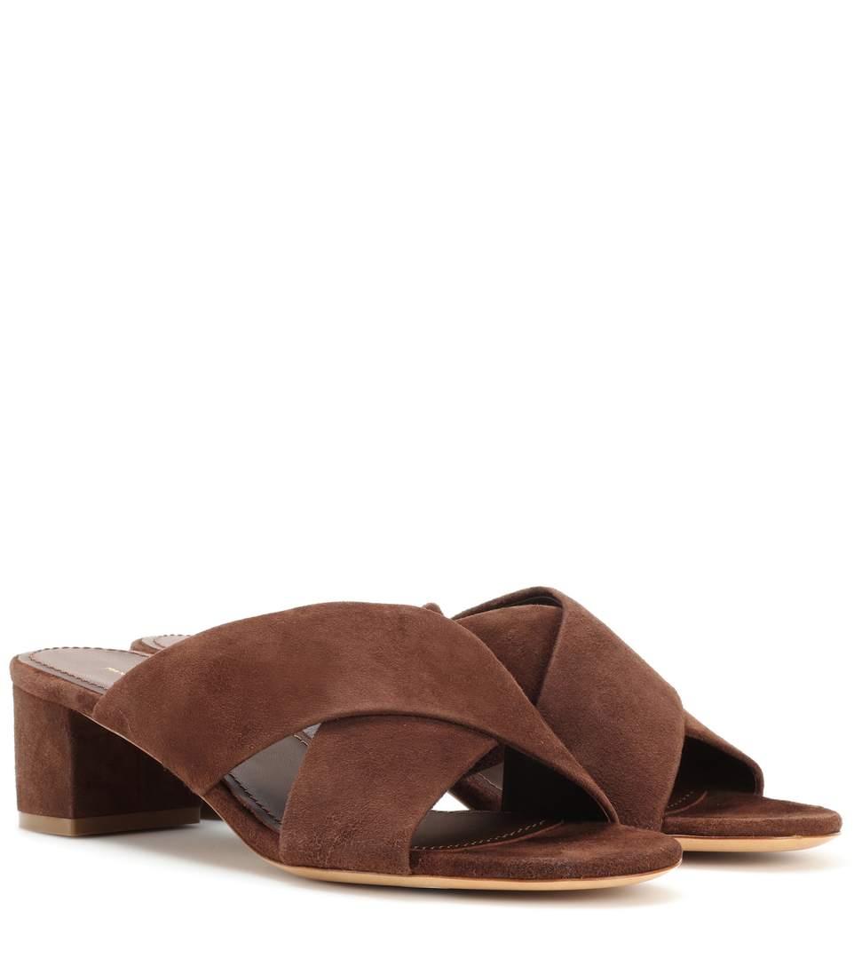 Mansur Gavriel Crossover 40mm Suede Sandals In Chocolate