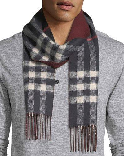 Burberry Men's Slim Cashmere Check To Solid Scarf, Blue Pattern