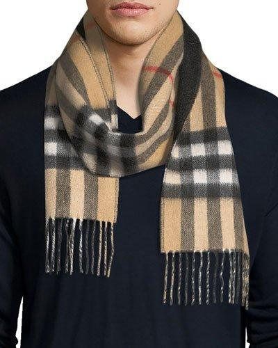 Burberry Men's Slim Cashmere Check To Solid Scarf, Brown/black