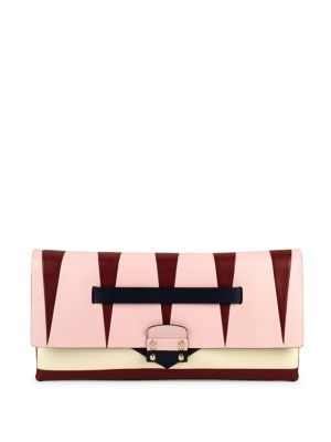 Valentino Garavani Paneled Leather Clutch In Multi
