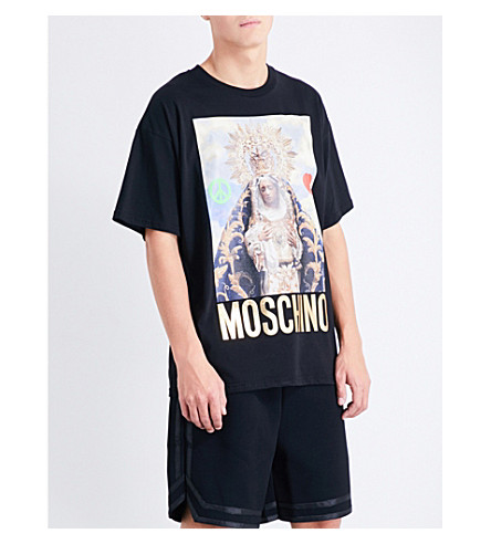 Moschino Virgin Mary Cotton T-shirt In Black