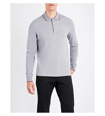 8d7a15235679 Moncler Striped-Trim Cotton-PiquÉ Polo Shirt In Grey
