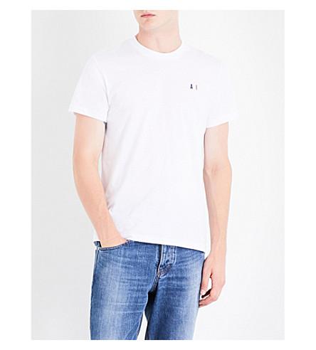 Ami Alexandre Mattiussi Logo-embroidered Cotton-jersey T-shirt In White