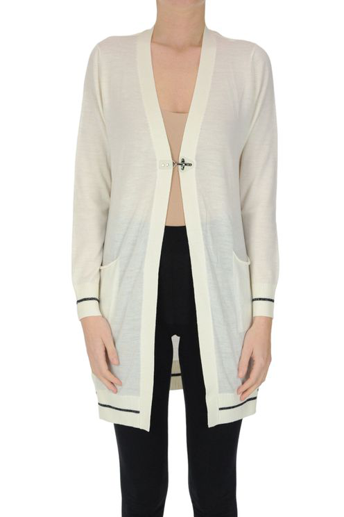 Fay Extrafine Wool Long Cardigan In White