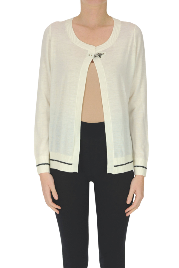 Fay Extrafine Wool Cardigan In White