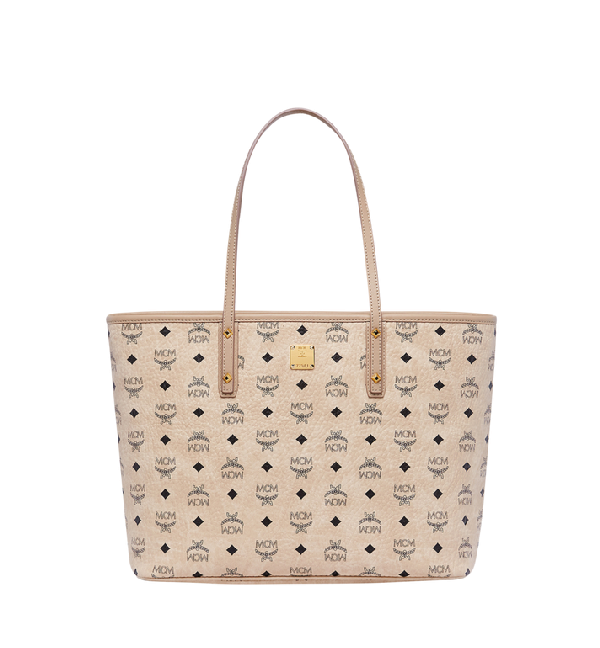 Mcm Anya Logo Print Medium Shopper Tote In Ig