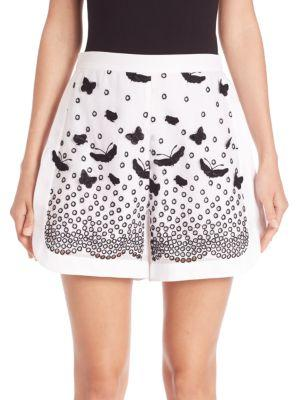 Giambattista Valli Butterfly AppliquÉ & Lace Shorts In Optical White
