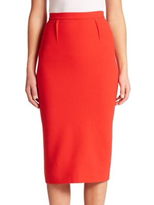 Roland Mouret Arreton Wool Crepe Pencil Skirt In Red