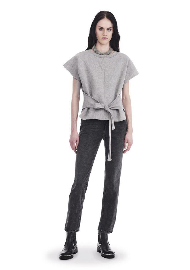 Alexander Wang Short Sleeve Wrap Front Top In Gray