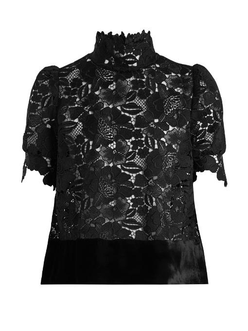N°21 High-neck Floral Macrame Top In Black