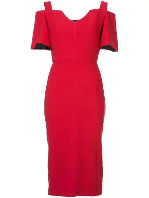 Roland Mouret Alton Open-shoulder Crepe Midi Dress In Rose Red