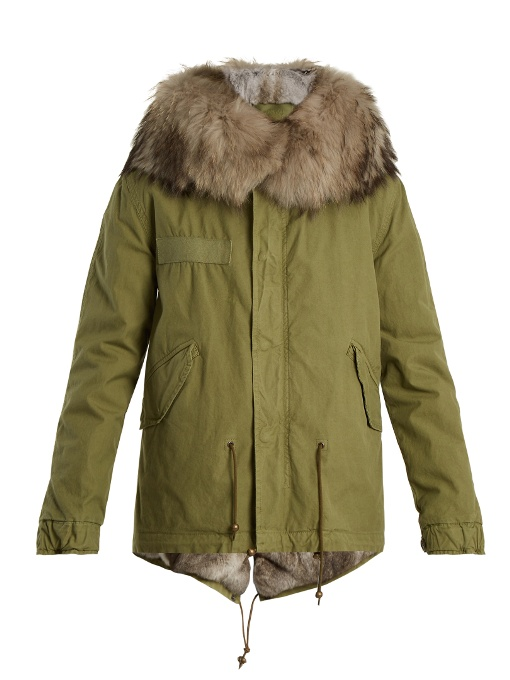 Mr & Mrs Italy Fur-trimmed Canvas Parka In Khaki