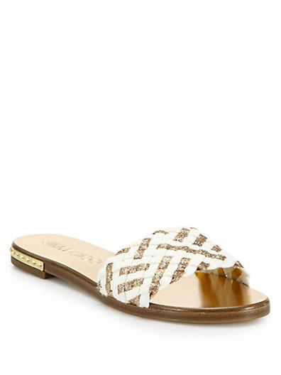 3fe135b503c2 Jimmy Choo Weave Studded Slide Sandal
