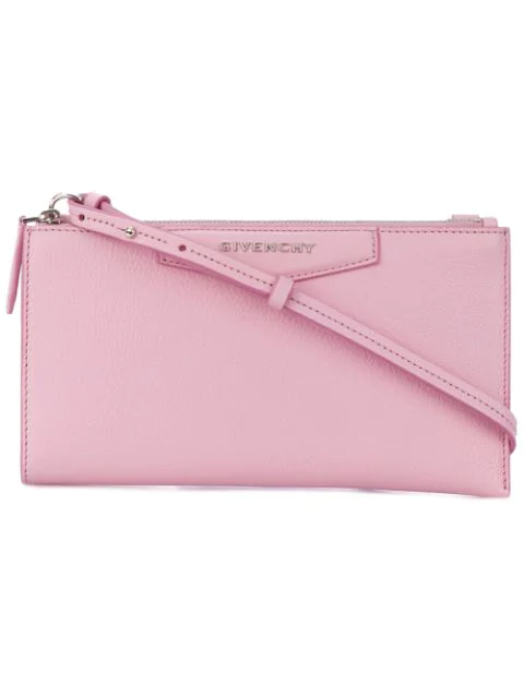 Givenchy Credit Card Leather Cross-body Bag In Bright Pink